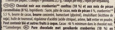 Brut Noir Noix de Pécan Caramélisées et Cranberries - Ingredients