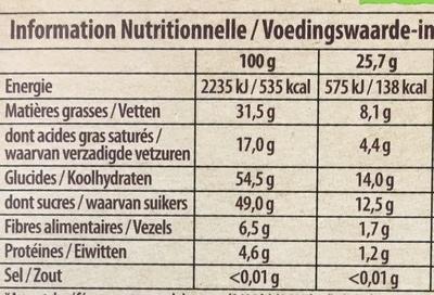Brut Noir Noix de Pécan Caramélisées et Cranberries - Nutrition facts