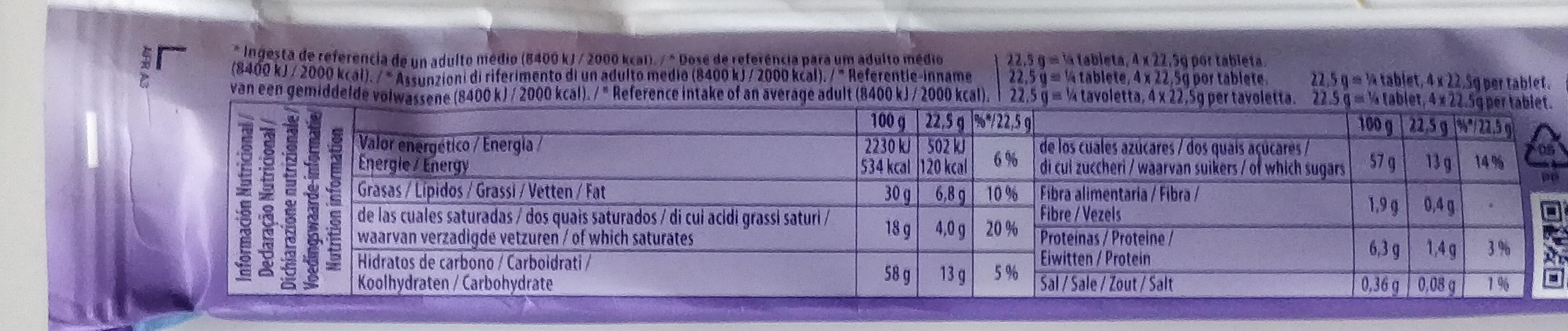 Milka Tavoletta Bubbly GR. 90 - Informació nutricional - es