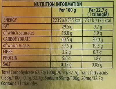 Toblerone - Informació nutricional
