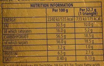 Toblerone crunchy almonds - Informations nutritionnelles