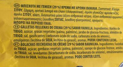 Oreo Chocolat Blanc - Ingredientes