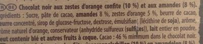 Brut Noir Amandes et Orange - Ingredients