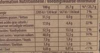 Brut Noir Amandes et Orange - Nutrition facts