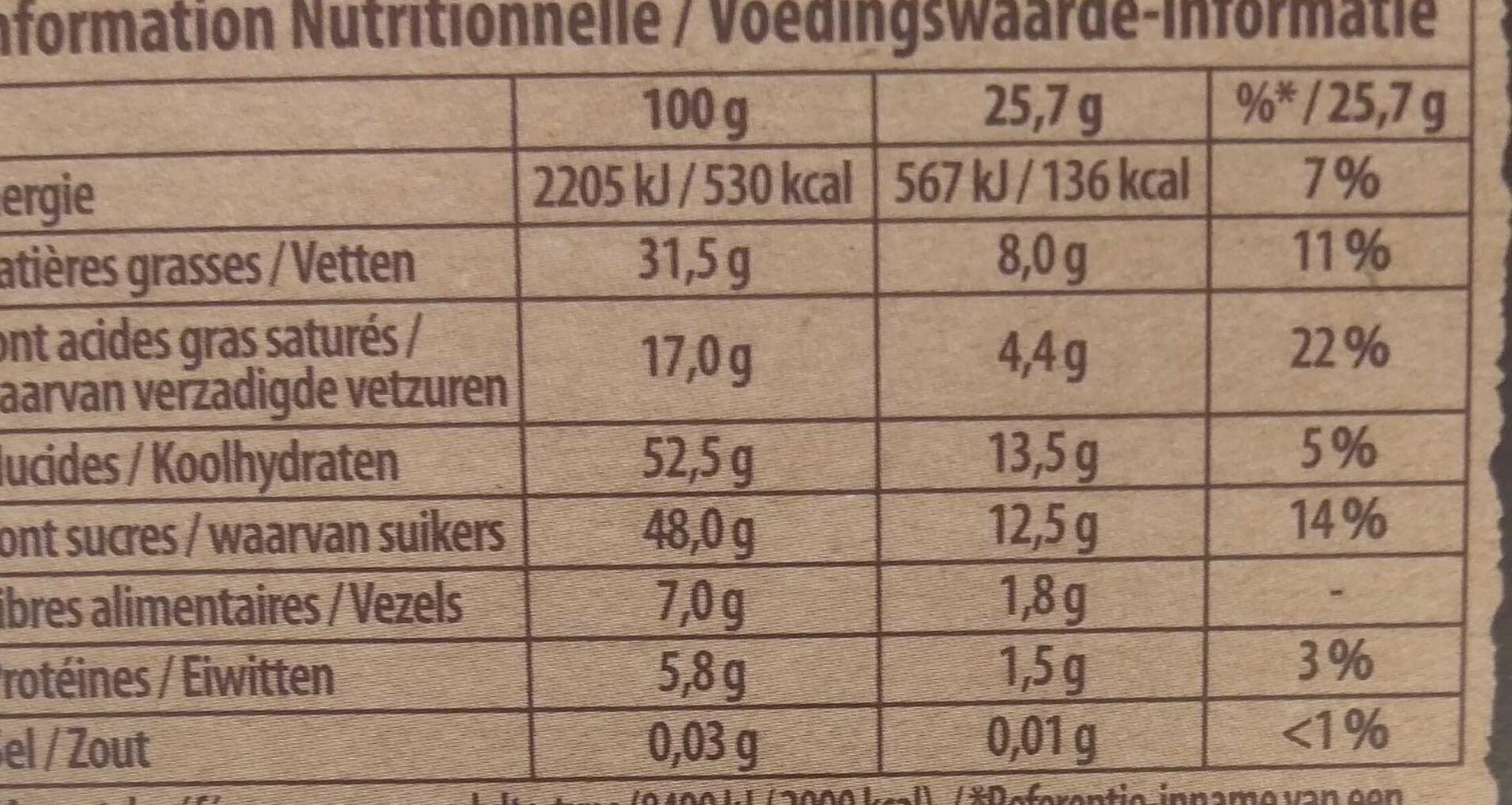 Brut Noir Amandes et Orange - Voedingswaarden - fr