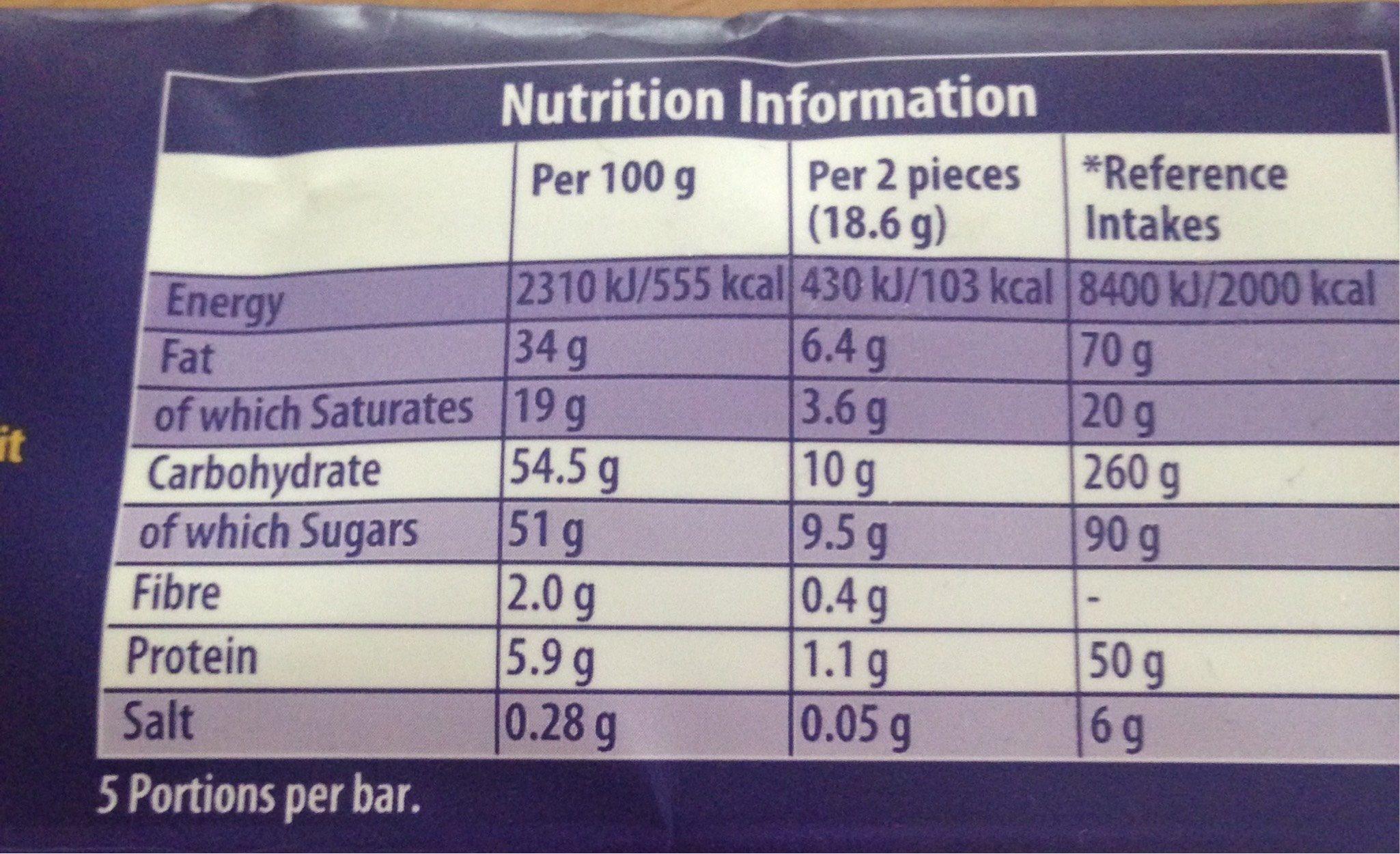 Cadbury Dairy Milk Medley Dark Choc Chip, Biscuit & Fudge Chocolate Bar - Información nutricional