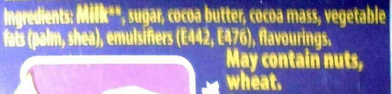 Cadbury dairy milk chocolate bar - Ingrediënten - en