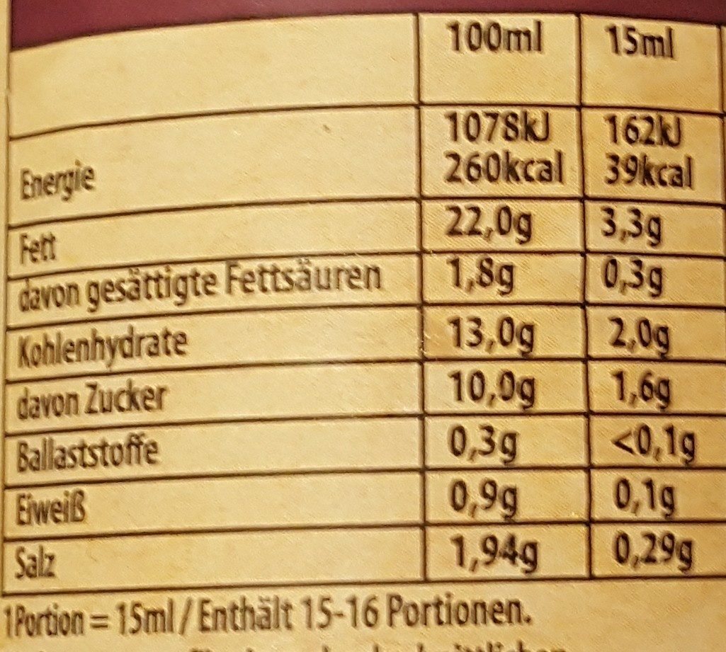 Bull´s eye BBQ Sauce Spicy Garlic - Nutrition facts