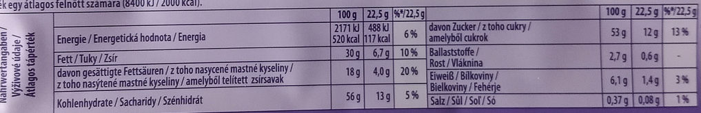 Milka Triple - Nutrition facts