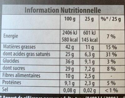 Oeuf au chocolat noir - Valori nutrizionali - fr