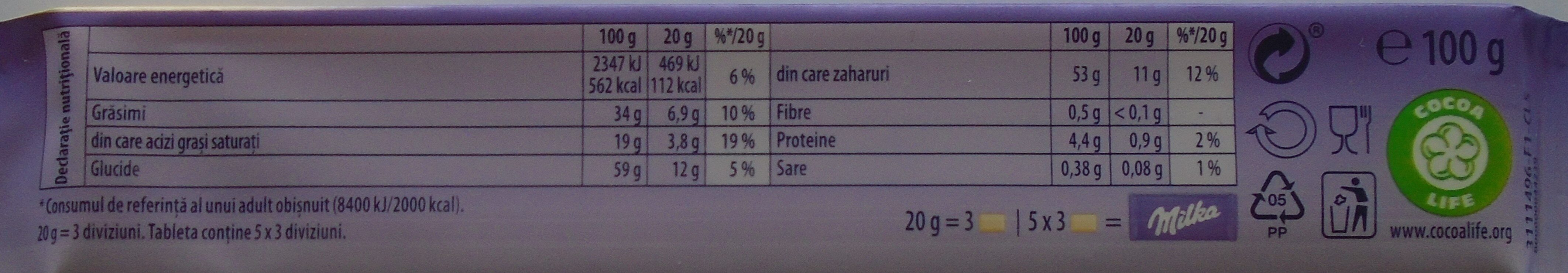 Milka Oreo white - Informations nutritionnelles - ro