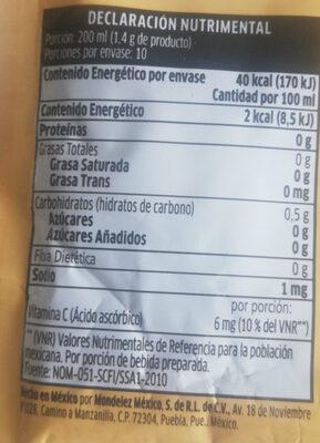 Tang Horchata - Ingredientes - de