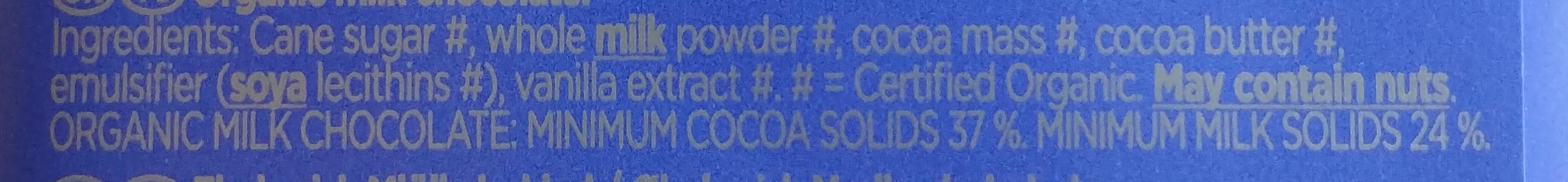 Organic Milk Chocolate - Ingrédients - en