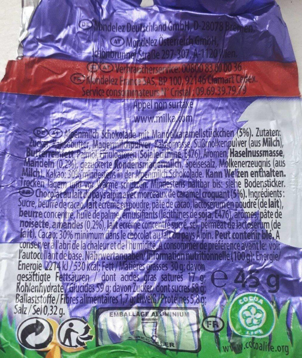 Lapin Milka au daim - Valori nutrizionali - en