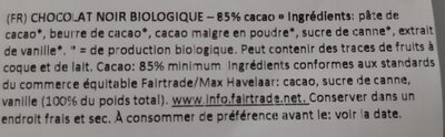 Organic black chocolate - Ingrediënten