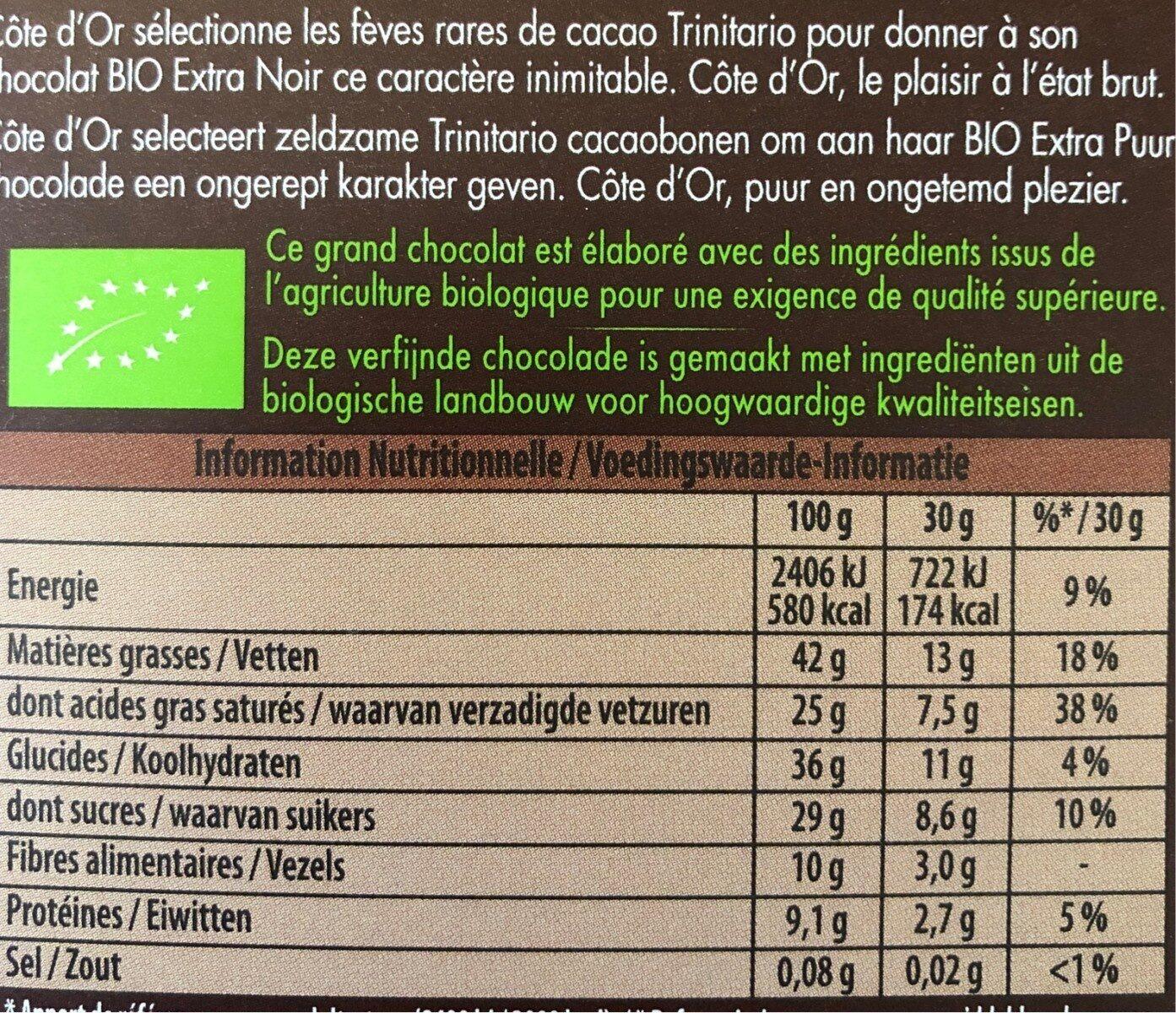 Bio extra noir - Informations nutritionnelles - fr