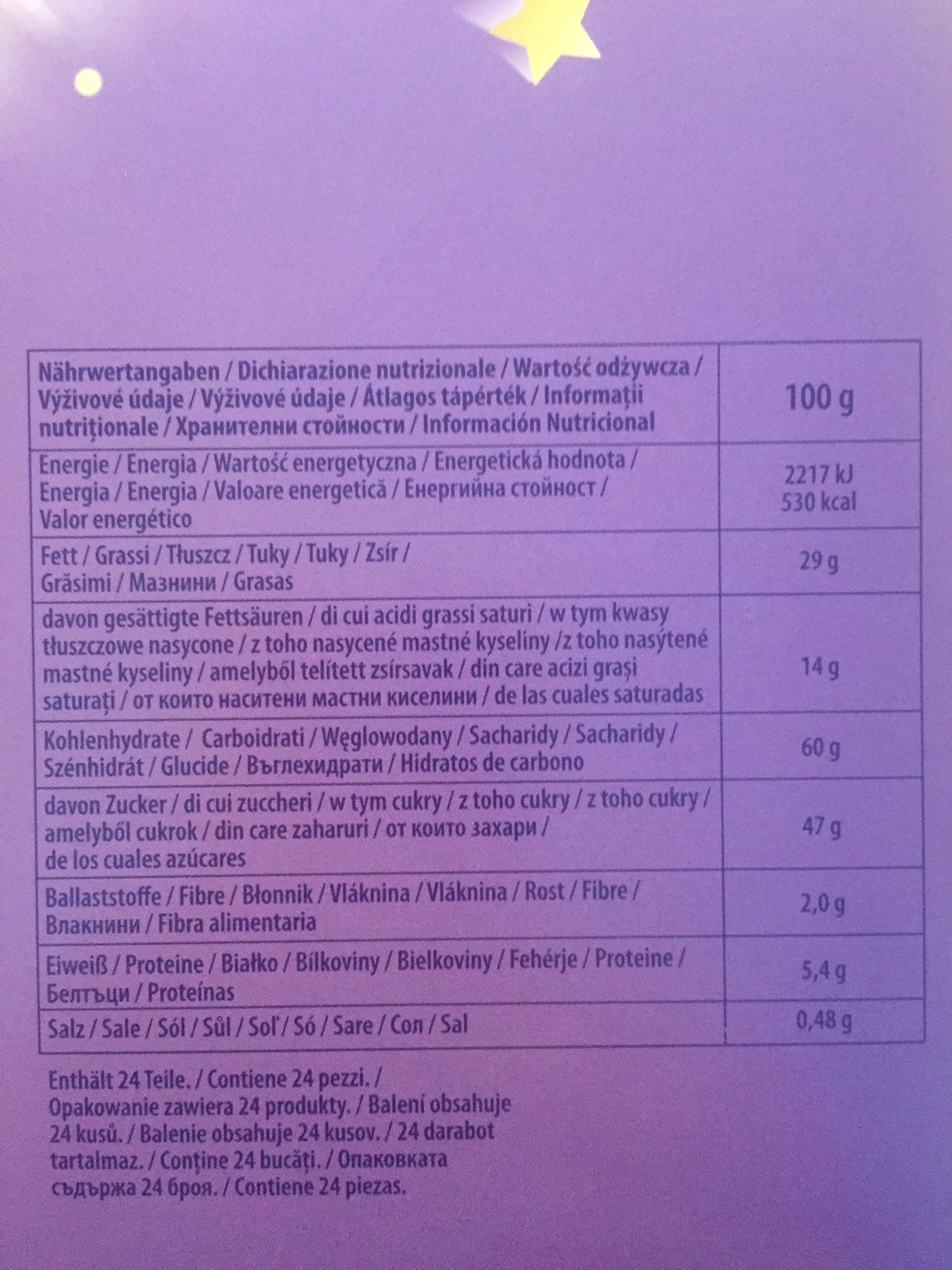 Adventskalender Milka Oreo - Informations nutritionnelles - de