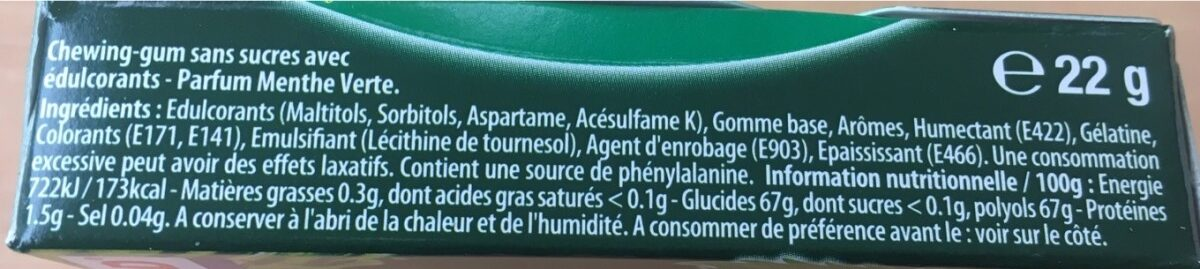 Chewing gums sans sucre menthe verte chlorophylle 2Fresh - Ingrédients - fr