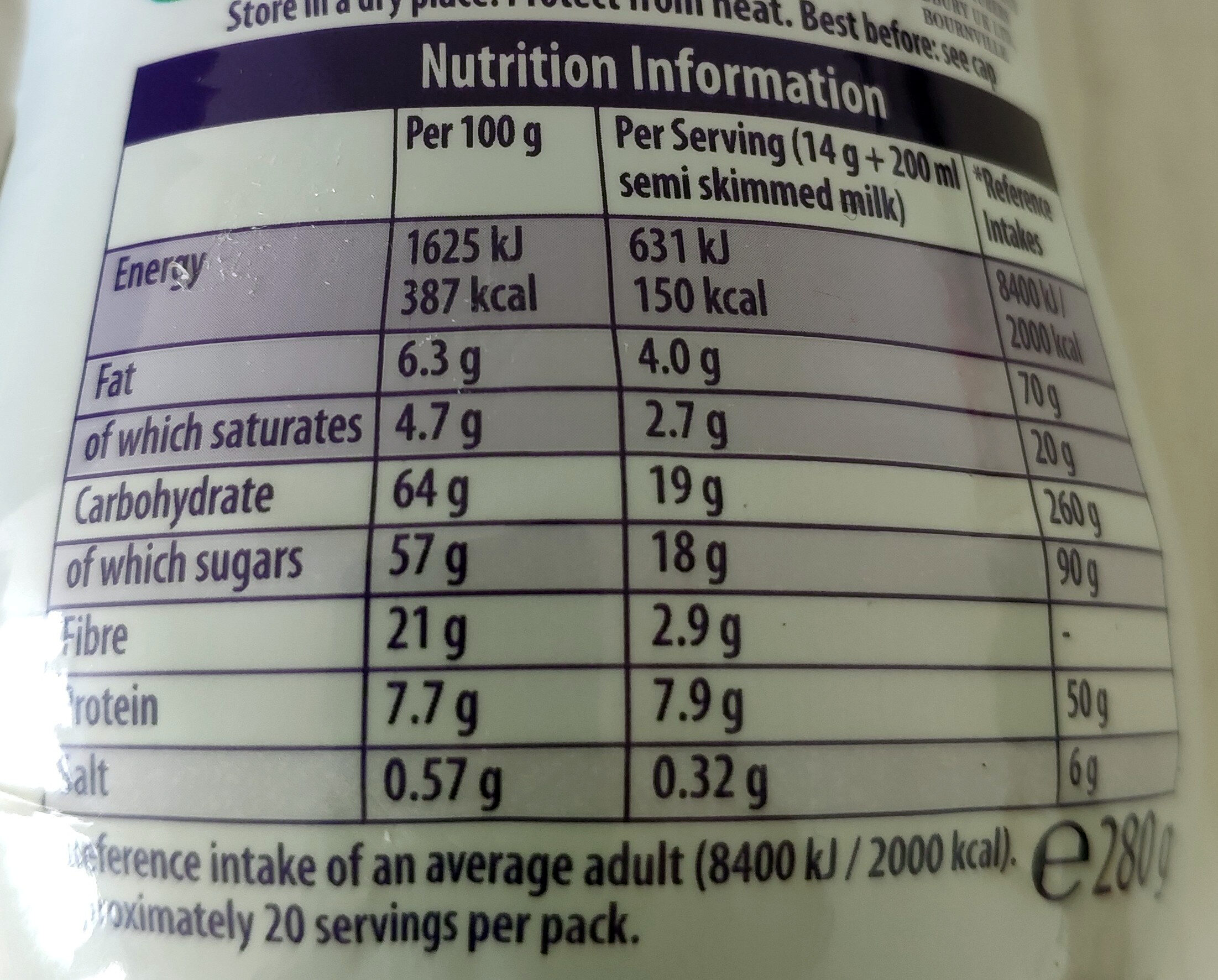 Choc Shake - Nutrition facts - fr
