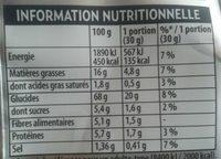 Les recettes belin fines au four goût fromage frais et oignon - Información nutricional