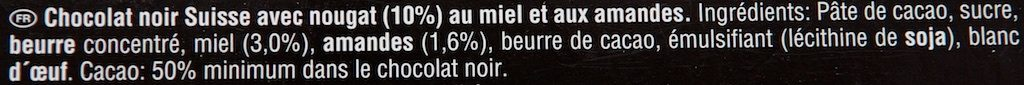 Toblerone Noir - Ingrédients - fr