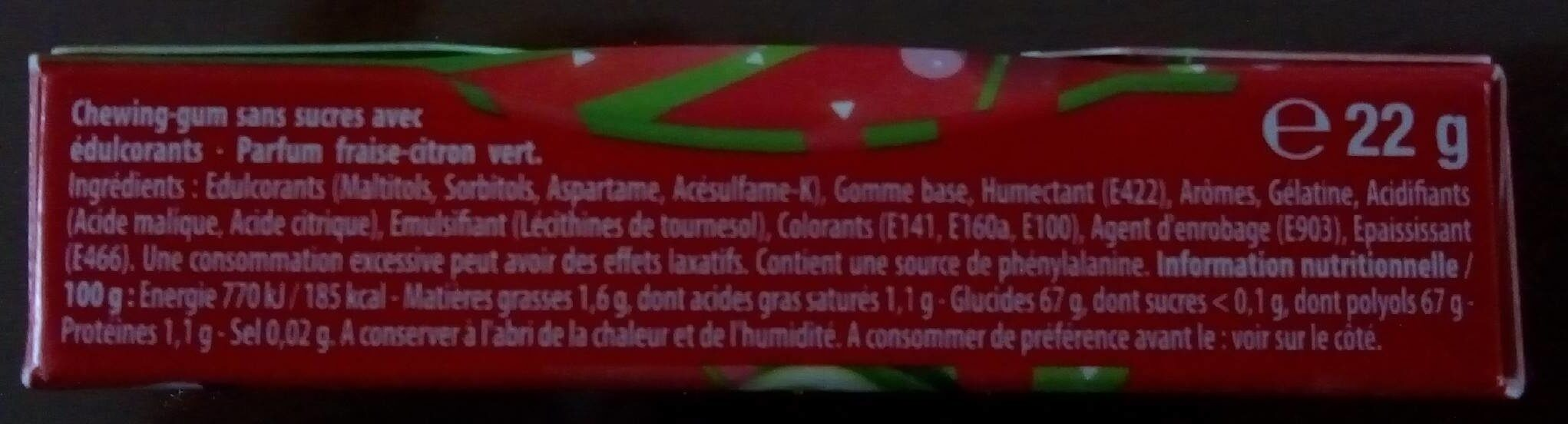 Chewing-gum - Informations nutritionnelles - fr
