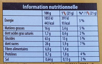 Grany Croquant d'Avoine - Informations nutritionnelles - fr