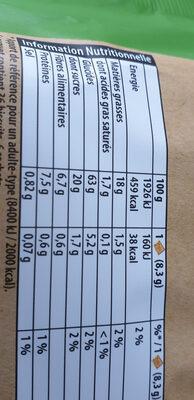 Les Petits Épis figue raisin abricot - Nutrition facts