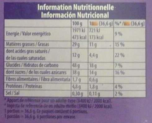 Choco brownie - Informations nutritionnelles - fr