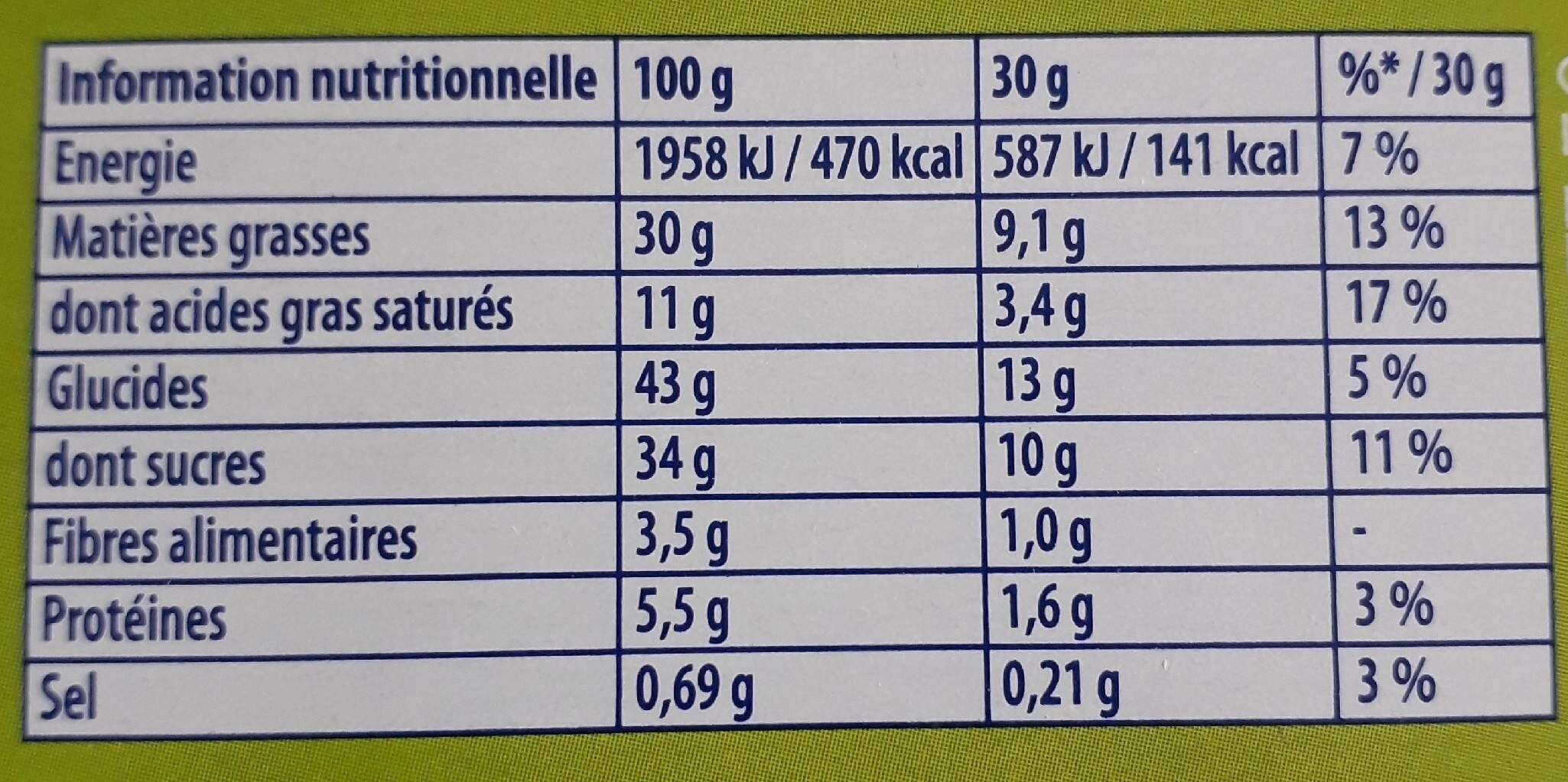 Brownie - Informations nutritionnelles - fr