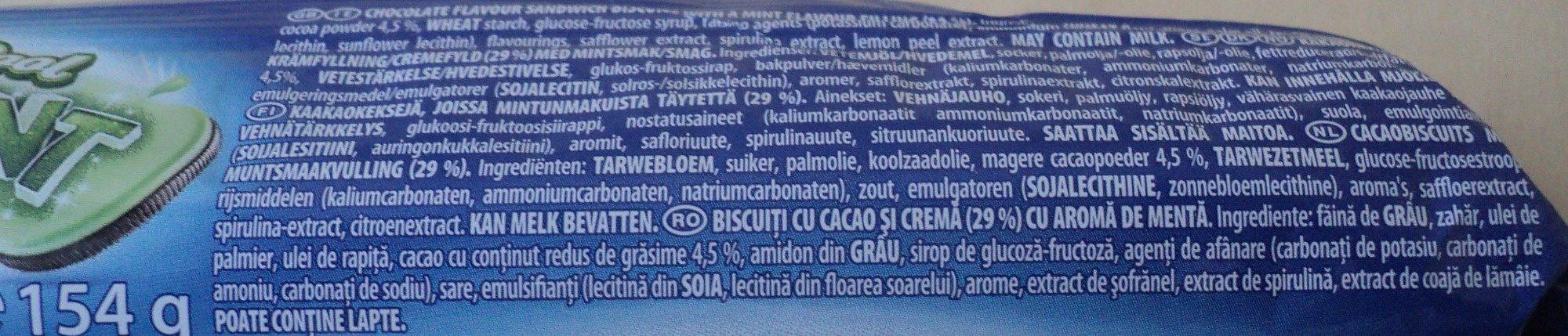 Oreo cookies mint - Ingrédients - fr