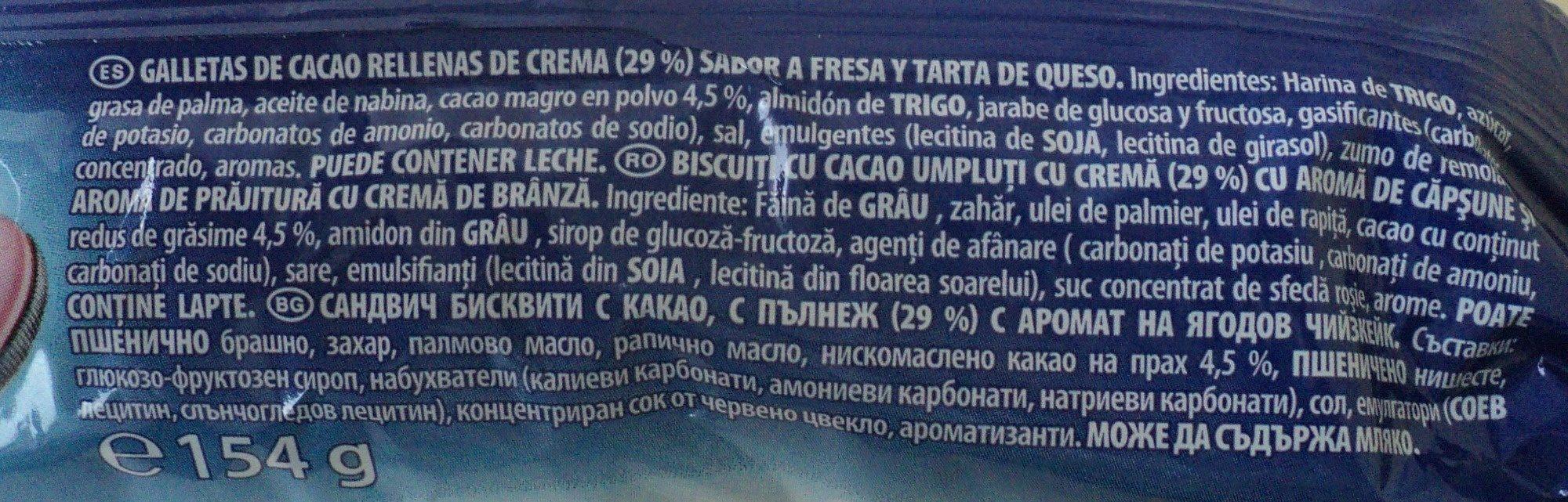 Oreo Strawberry Cheesecake 14er - Ingredientes - ro