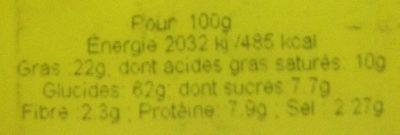Tuc Cracker Sour Cream & Onion - Informations nutritionnelles