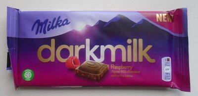 Milka Darkmilk Ciocolată cu lapte alpin și zmeură uscată - Производ - ro