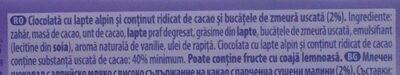 Milka Darkmilk Ciocolată cu lapte alpin și zmeură uscată - Sastojci - ro