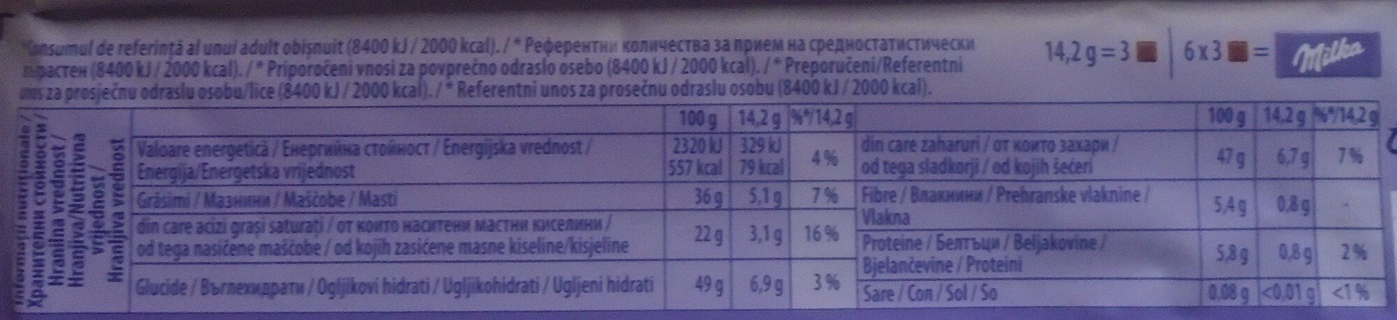 Milka Darkmilk Ciocolată cu lapte alpin și zmeură uscată - Hranljiva vrednost - ro