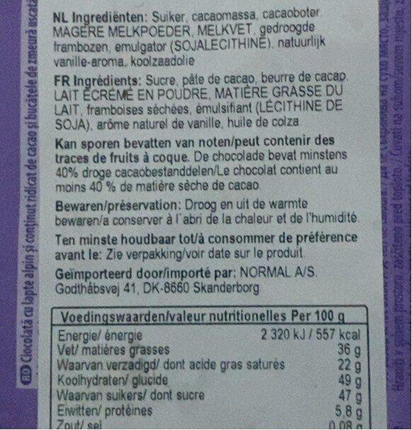 Darkmilk - Хранителна информация - ro