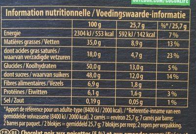 Brut noir - noisettes grillées & amandes - Nutrition facts