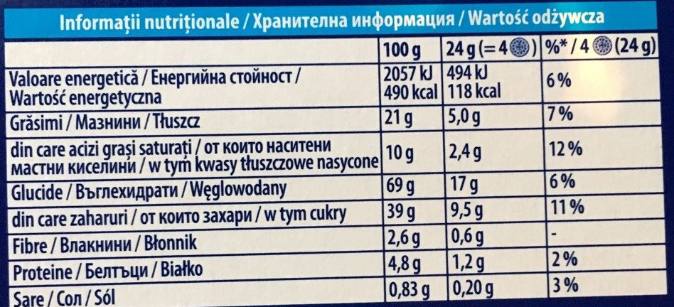 Biscuits Oreo Crispy and Thin - Nutrition facts