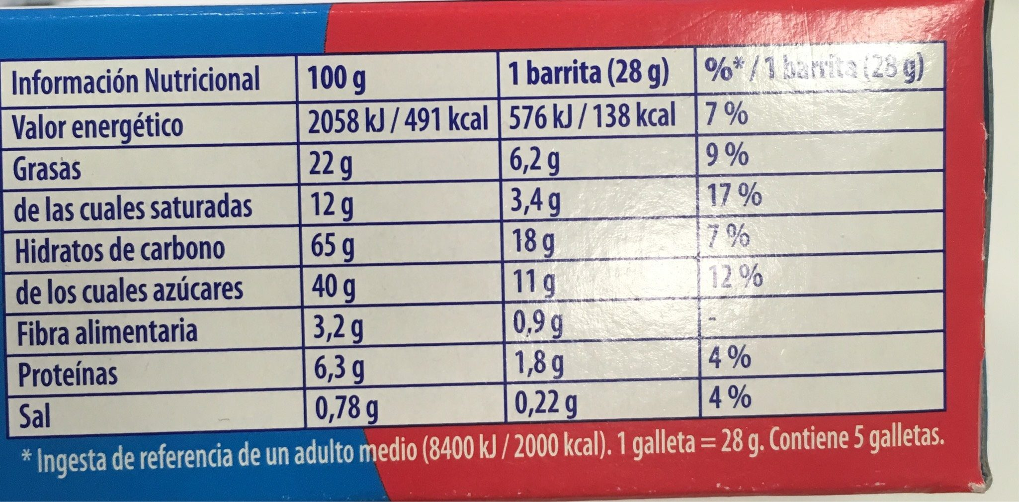 Chips Ahoy! Barritas - Informations nutritionnelles - es