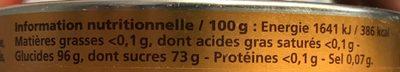 Bonbons Parfum Miel Citron - Informations nutritionnelles