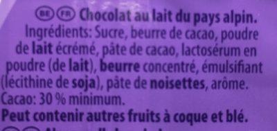 Chocolat au lait du Pays Alpin - Ingrédients - fr