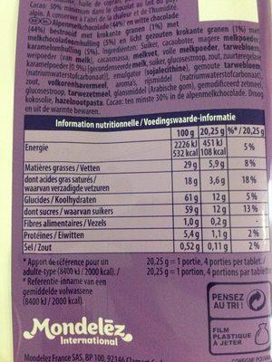 Côte d'Or Chocolat de Pâques Encore Praliné 158 g - Informations nutritionnelles