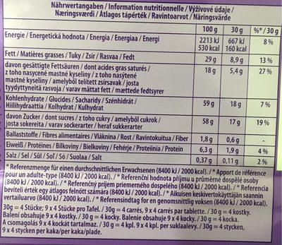 Alpenmilch alpine milk - Výživové údaje - fr