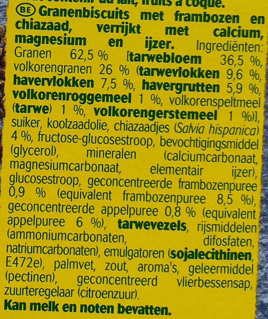 Graines et fruits - Framboises et graines de chia - Ingrediënten - nl