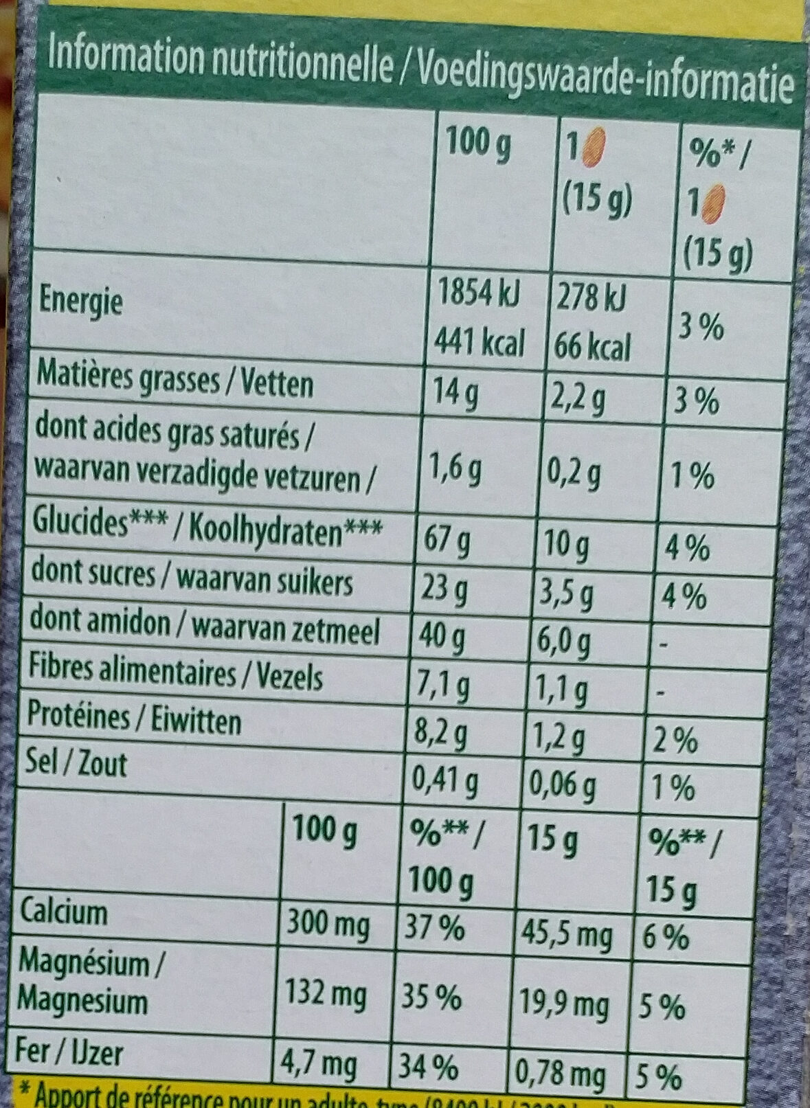 Belvita Graine et fruits - Valori nutrizionali - fr