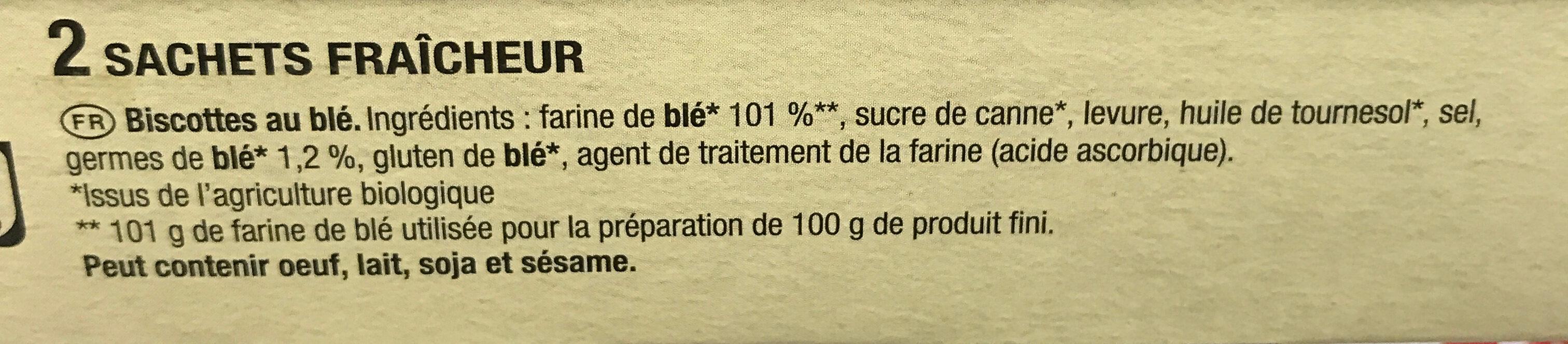 La Biscotte Bio au germé de blé - Ingredienti - fr