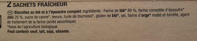 Biscotte Bio A l'épeautre Complet - Ingrédients - fr