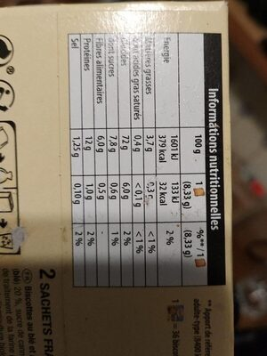 Biscotte Bio A l'épeautre Complet - Informations nutritionnelles - fr