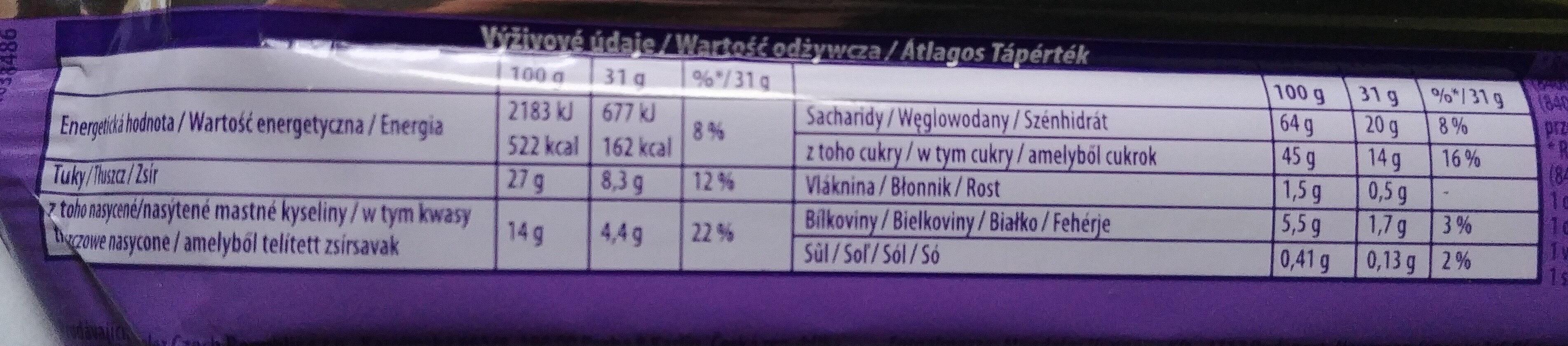 Wafelek oblany czekoladą mleczną z mleka alpejskiego. - Informations nutritionnelles